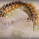 3 Strand Faux Pearl  Bead Bracelet with Ribbon Bow (Bronze-Tangerine)