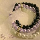 3 Strand Faux Pearl  Bead Bracelet with Ribbon Bow (Lavender-Black)