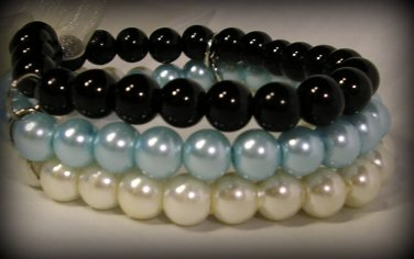 3 Strand Faux Pearl  Bead Bracelet with Ribbon Bow (BLUE-BLACK)
