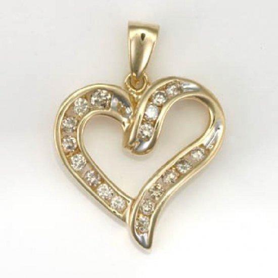 1/2 ctw. Diamond & 10K Yellow Gold Channel Set Heart Pendant