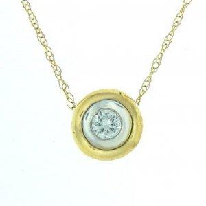 1/5 ctw. Bezel Set Diamond Solitaire & 10K Yellow Gold Necklace
