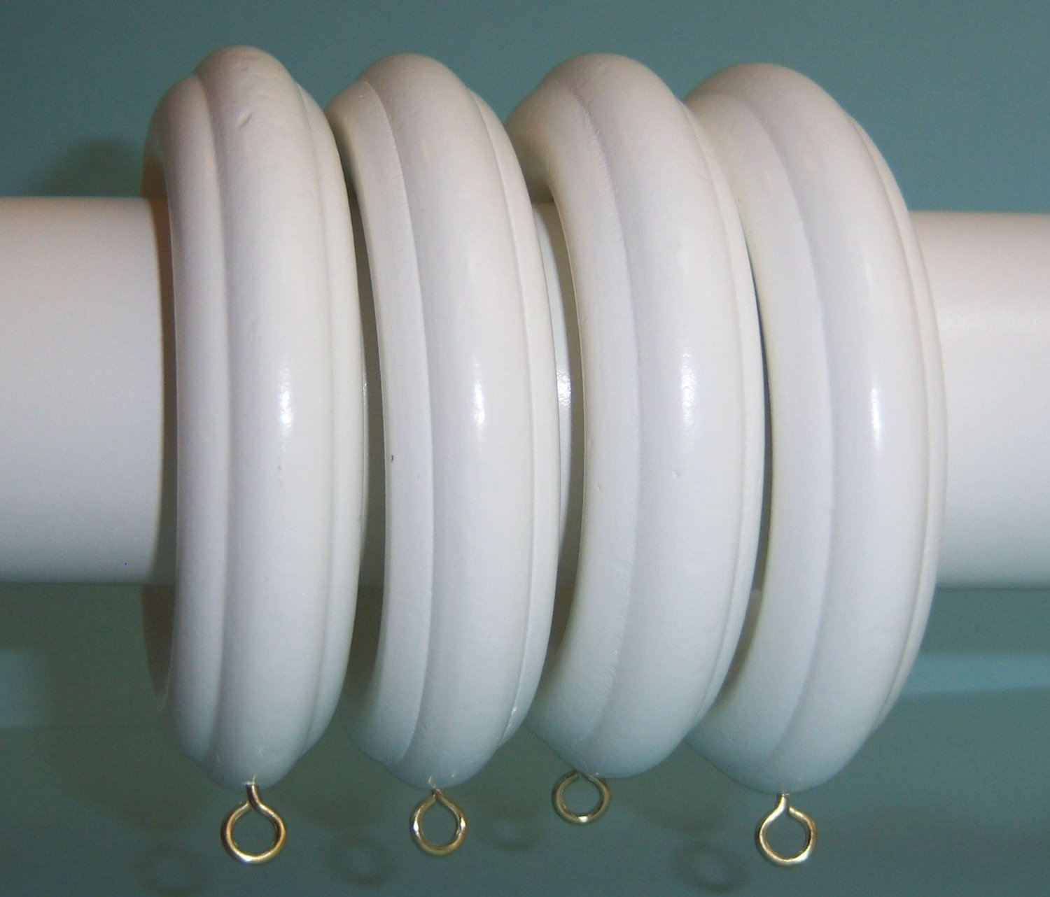 "Kirsch 2"" Solid Wood Pole Rings for Window Drapes, White Finish"