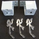 """2 QTY:1"""" Mini Blind Mounting Kits :Metal Brackets + Double Valance clips / WHITE"""