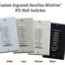 Custom Engraved LARGE BUTTONS for SOMFY DECOFLEX wall switches, in WHITE