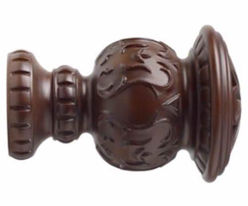 "Kirsch Wood Trends Classics Reign Finial, for 3"" pole, Mahogany (MPN# 56805083)"