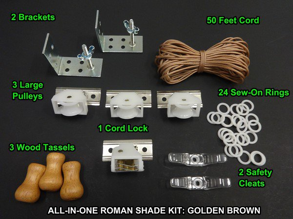 All-in-One  DIY ROMAN SHADE HARDWARE KIT, Golden Brown-All the basics your need!
