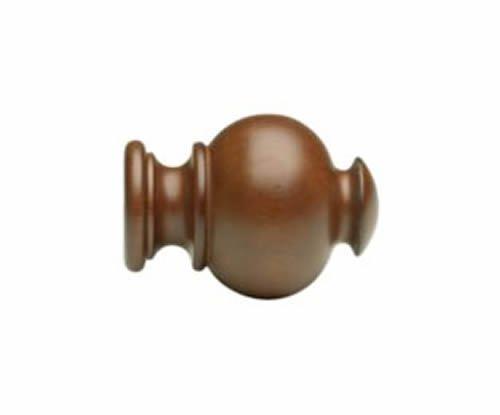 """Kirsch Wood Trends Classics Button Ball Finial, for 1 3/8"""" pole, Walnut (MPN# 56"""