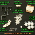 All-in-One LARGE ROMAN SHADE HARDWARE KIT, in White (cord lock, pulleys, cord, b