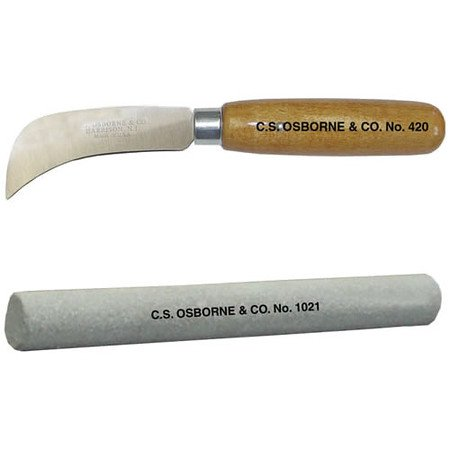 "C.S. Osborne & Co. No. 420 Hawkbill Knife: 3"" & No. 1021 - Sharpening Stone"