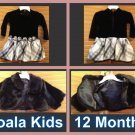 KOALA KIDS Black Velvet Tutu Dress with Black Fur Coat Size 12 Month/Both