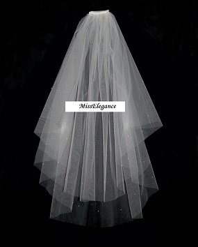 """Bridal Veil ,Wedding Veil, 2 Tier Waist  length veil 25""""30"""" with detachable comb."""