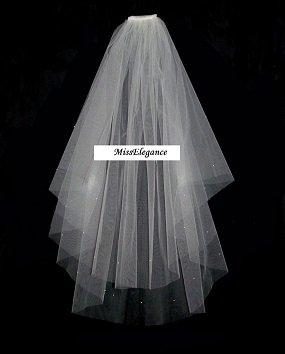 "Bridal Veil ,Wedding Veil, IVORY 2 Tier Knee length veil 25""45"" with detachable comb."