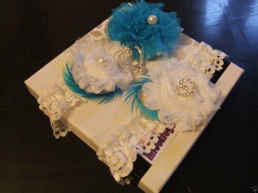 Bridal Garter.Wedding Garter,Set of 2. Lace & Rosette Garter,White,I vory Garter