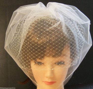 IVORY Tulle Birdcage Veil & French net combined.Top comb,Blusher veil. IVORY VEIL