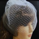 WHITE Tulle Birdcage Veil & French net combined.Top comb,Blusher veil. IWHITEVEIL