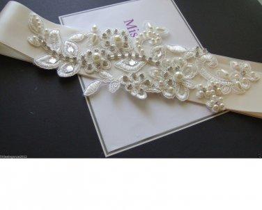 Wedding bridal Sash,Bridal dress belt bridal accessory .Satin belt Crystal,Pearl