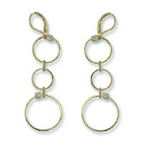 Open Circle Cubic Zirconia Gold Leverback Earrings