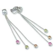 Champagne, Peridot & Pink Cubic Zirconia clip earrings