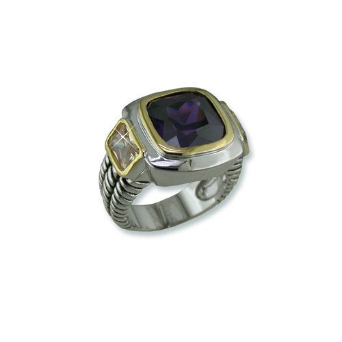Amethyst Cubic Zirconia Antique Ring with Gold trim