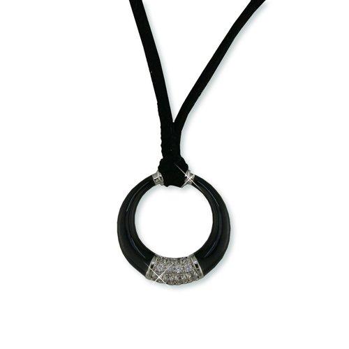 Black Ceramic and Cubic Zirconia Circle Suede Necklace