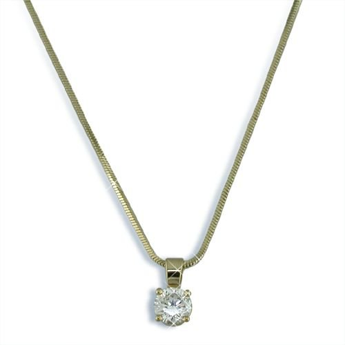 Round Cubic Zirconia gold finish necklace