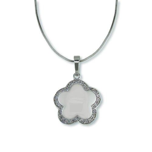 Cubic Zirconia White Flower Shape Necklace