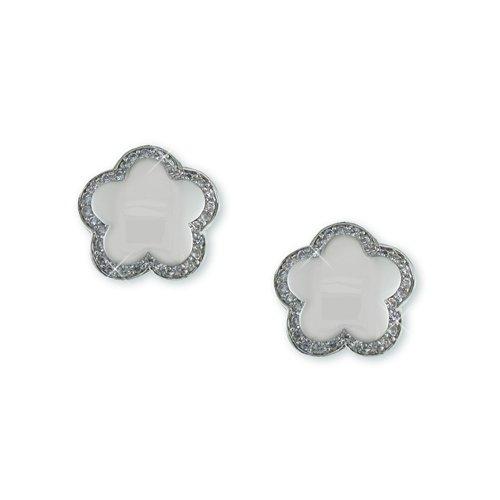 Flower shape White Cubic Zirconia Earrings