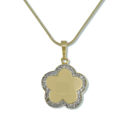 Caramel Flower Shape Cubic Zirconia Necklace