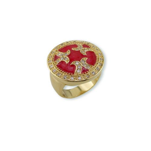 Pearlized Red Enamel Cubic Zirconia Ring