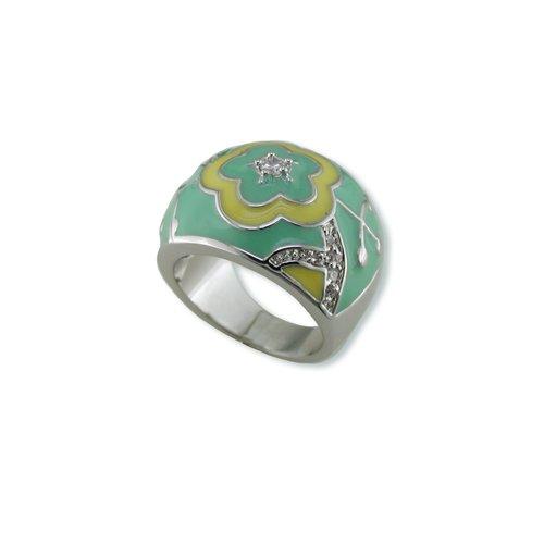 Green & Yellow Enamel Cubic Zirconia Ring