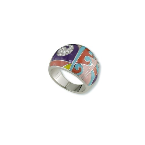 Geometric Multi-color Enamel Cubic Zirconia Ring