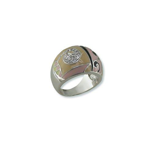 Geometric Neutral Enamel Cubic Zirconia Ring