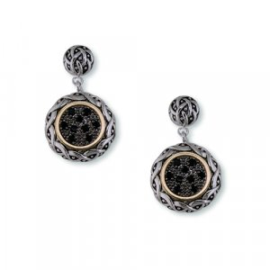 Antique Two-Toned Jet Cubic Zirconia Earrings