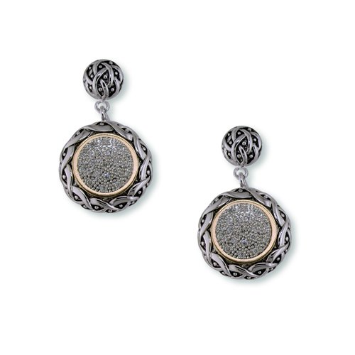 Antique Two-Toned Cubic Zirconia Earrings