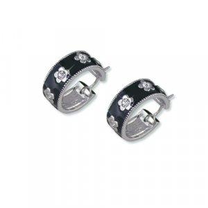 Black Enamel Flower Cubic Zirconia Earrings
