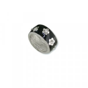 Black Enamel Flower Cubic Zirconia Ring