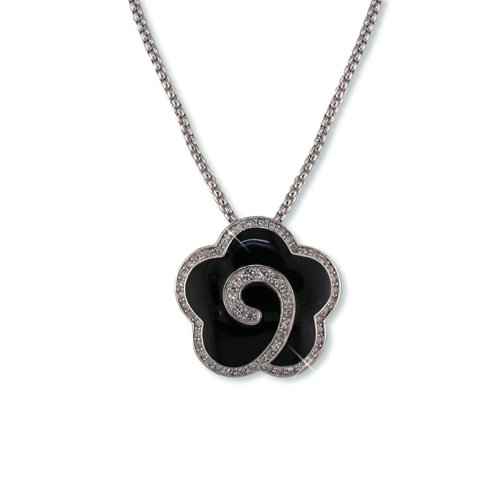 Black Enamel Flower Cubic Zirconia Necklace