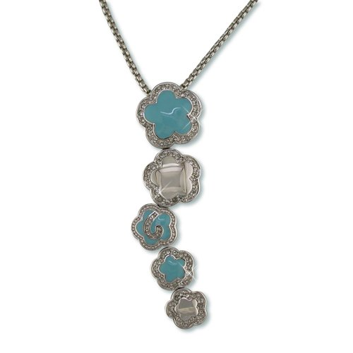 Turquoise Enamel Flower Cluster Cubic Zirconia Necklace