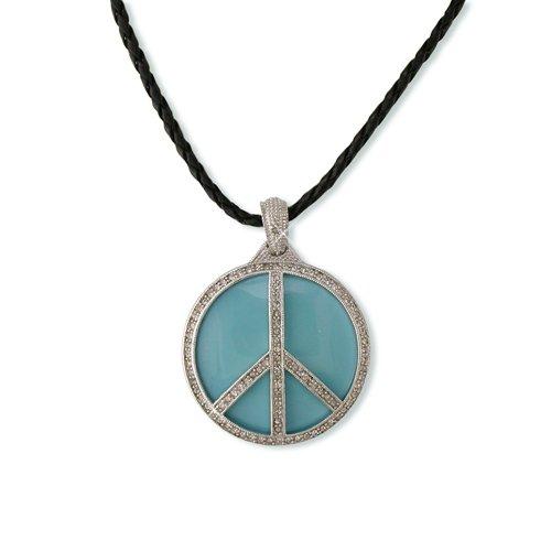 Peace Turquoise Enamel Cubic Zirconia Necklace
