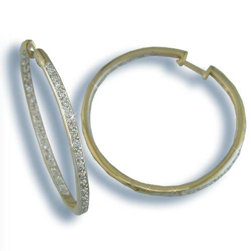Cubic Zirconia Gold Inside-Out Hoop Earrings (H3171GT)