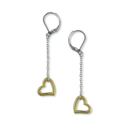 Silver/Gold Heart Dangle Earrings (EE6351)