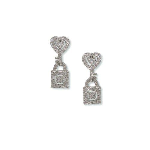 Lock and Key Cubic Zirconia Earrings