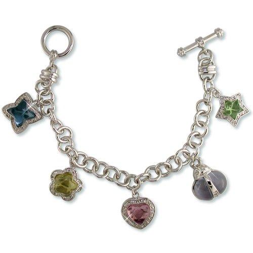 Cubic Zirconia & Multi-color Glass Charm Bracelet (B6355)