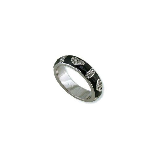 Hearts Black Enamal Cubic Zirconia Ring (R6040B)
