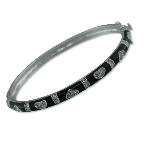 Hearts Black Enamel Cubic Zirconia Bangle (BA6040B)