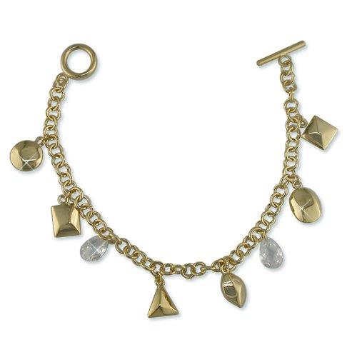 Charmed Cubic Zirconia Gold Bracelet (B6288G)