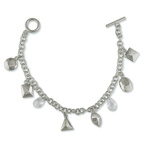 Charmed Cubic Zirconia Rhodium Bracelet (B6288G)