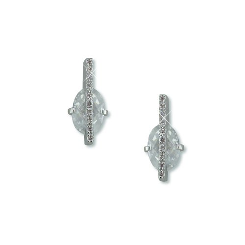 Trapped Cubic Zirconia Rhodium Earrings