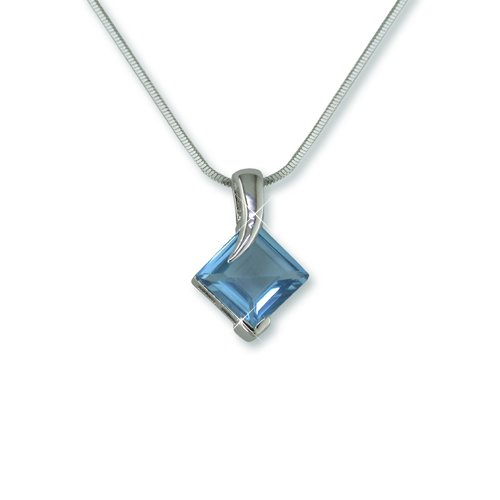 Aqua Rhodium Necklace