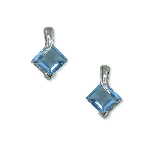 Aqua Rhodium Earrings